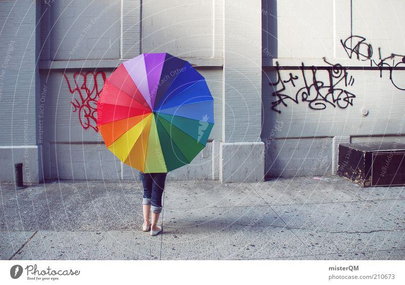 Urban. Esthetic Design Patch of colour Colour Play of colours Multicoloured New York City Sidestreet Prismatic colors Umbrella Woman Creativity Idea Modern