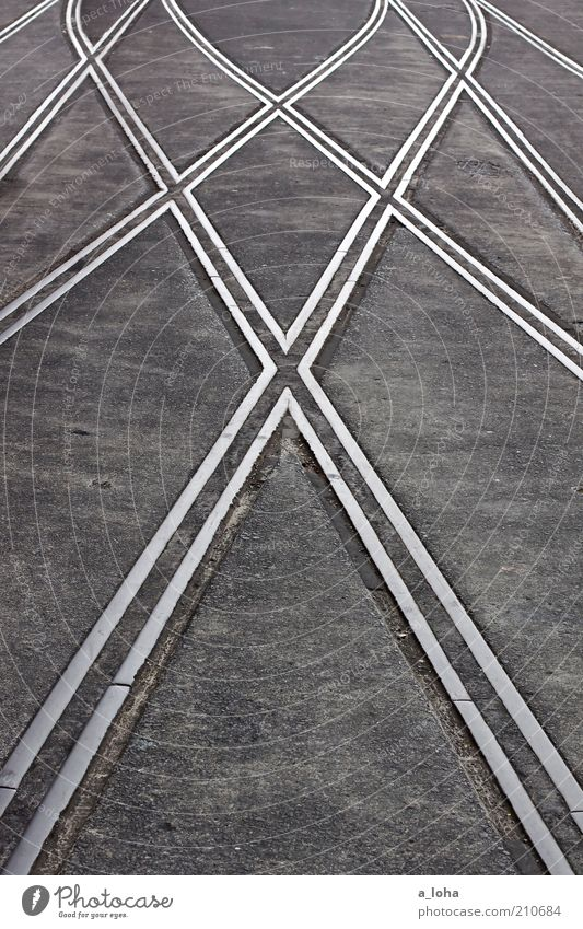 Ordered Chaos Deserted Traffic infrastructure Road junction Rail transport Railroad tracks Switch Railroad system Steel Line Arrow Stripe Network Firm Gray