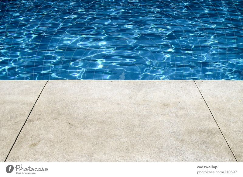photograph of a hollywood swimming pool Lifestyle Summer Summer vacation Clean Warmth Blue Gray Swimming pool Pool border Concrete floor Water Surface of water