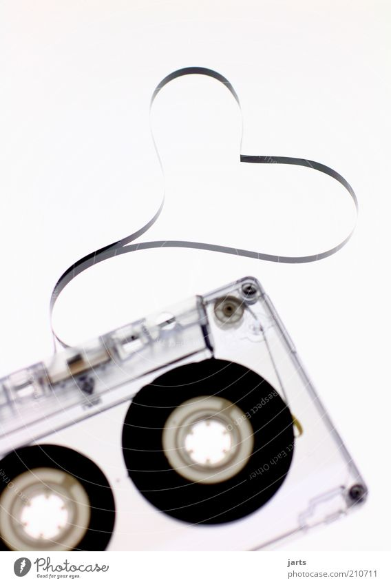 Love Music Retro Media Analog Transparent Tape cassette Technology Culture Heart-shaped Tape spaghetti Listen to music