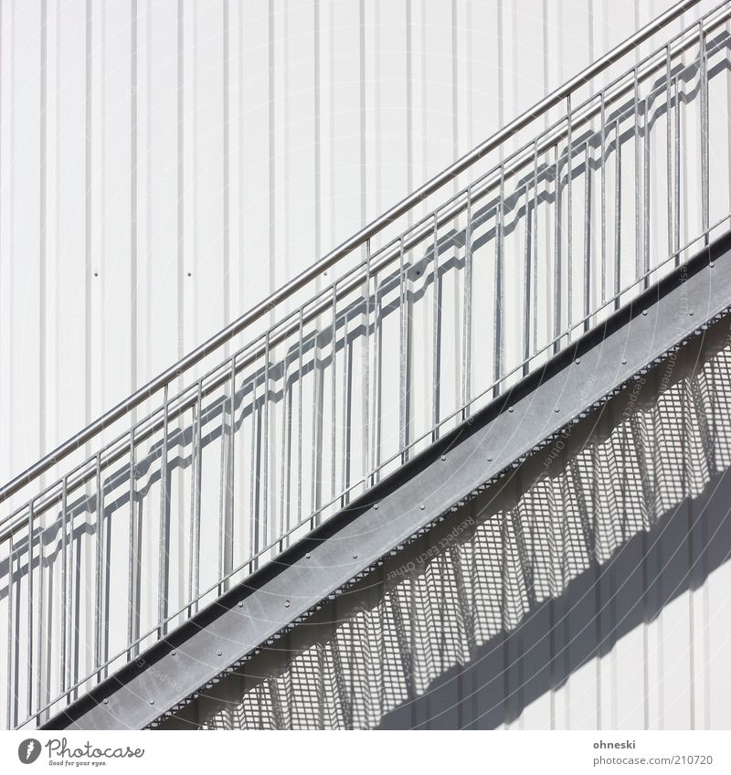 upward Factory Manmade structures Building Stairs Facade Banister White Subdued colour Copy Space top Day Shadow Sunlight External Staircase Handrail Metal Gray