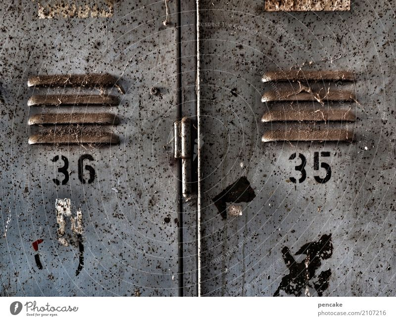 enumerated Container Strongbox Locker Metal Digits and numbers Old Authentic Dirty Sharp-edged Workplace Workwear 35 36 Ventilation Slit Slat blinds Rust