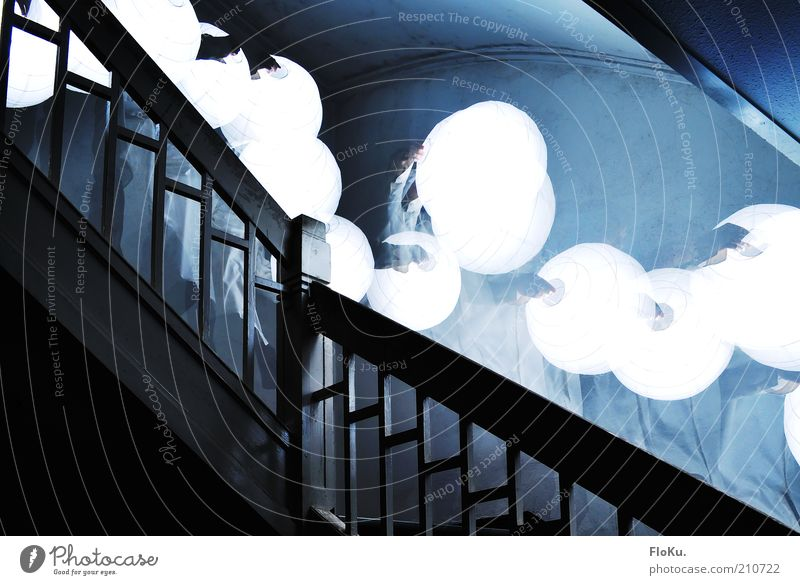 I go with my lantern... Stairs Esthetic Exceptional Dark Creepy Bright Blue Black White Dream Fear Disbelief Perturbed Bizarre Whimsical Surrealism Banister