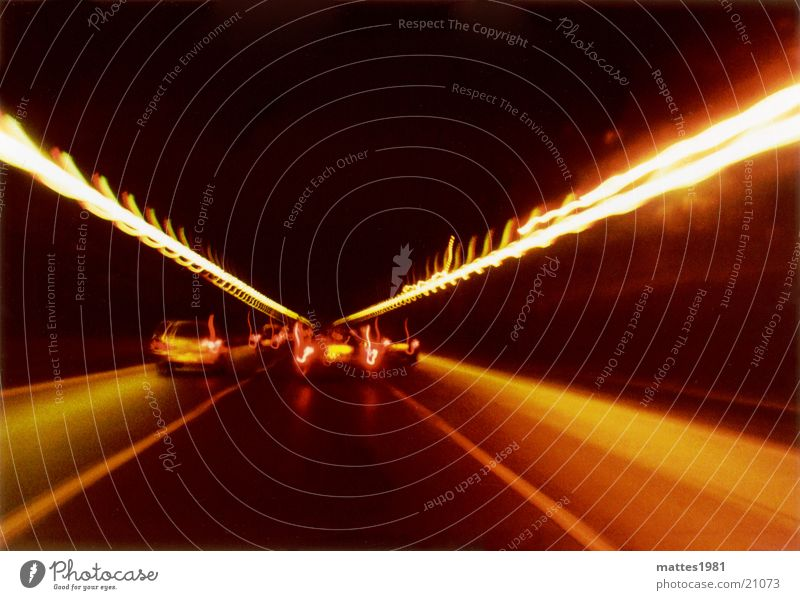 Red Vacation & Travel Yellow Dark Car Transport Speed Driving Tunnel In transit Rear light Acceleration High speed