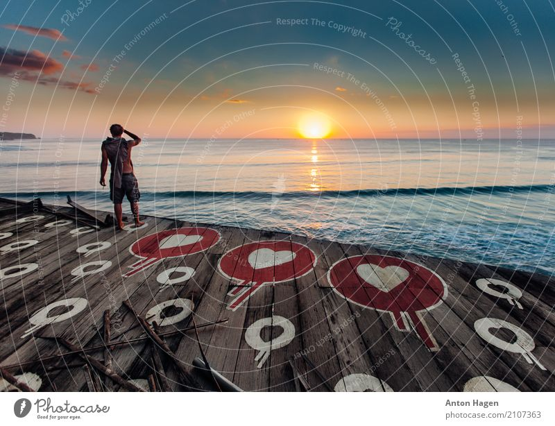 Sunset full of love Lifestyle Vacation & Travel Adventure Freedom Summer Beach Ocean Island Waves Masculine Young man Youth (Young adults) 1 Human being
