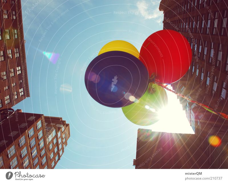 Sky Blue Green City Red Summer Joy Yellow Warmth Air Feasts & Celebrations Contentment High-rise Esthetic Balloon Hot