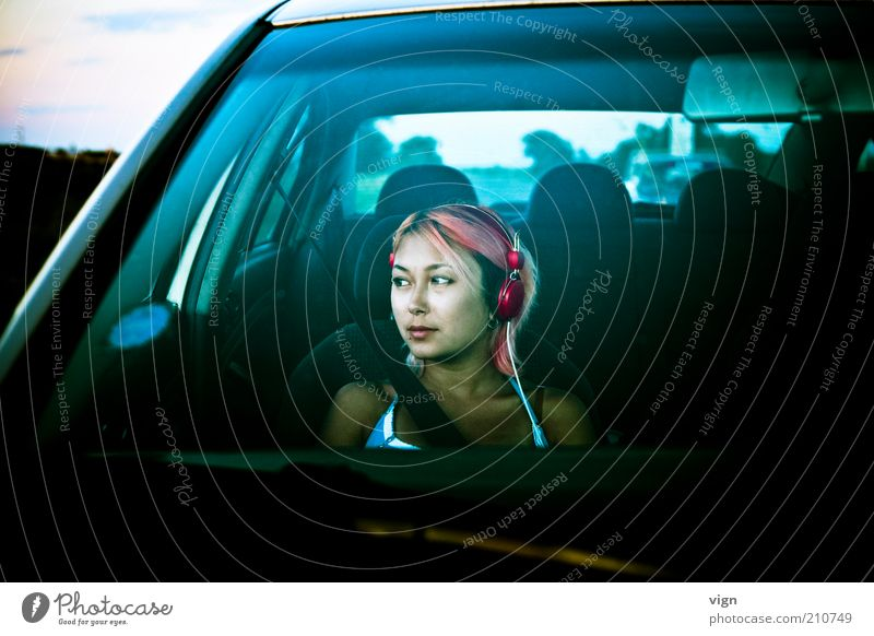 Human being Youth (Young adults) Face Feminine Dream Hair and hairstyles Car Adults Trip Motoring Headphones Wanderlust Red-haired Woman Young woman Vacation & Travel