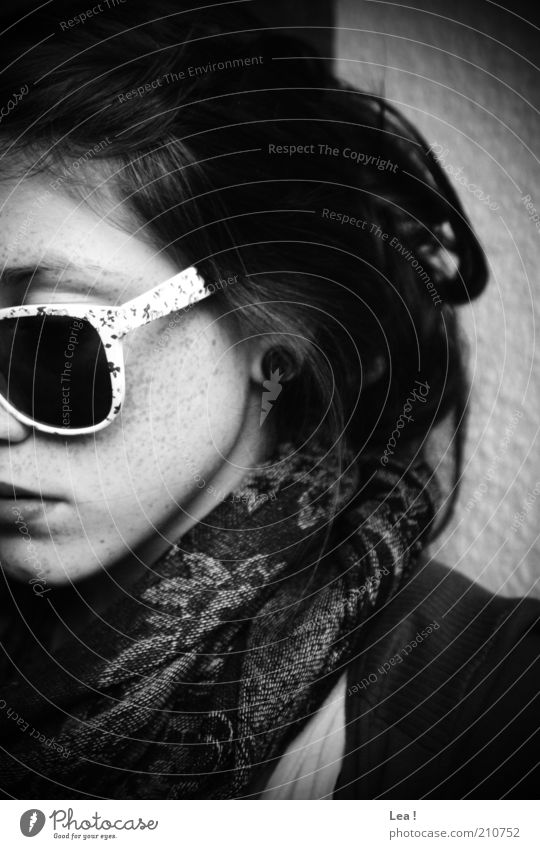 Human being Face Calm Feminine Style Think Retro Black & white photo Brunette Sunglasses Eyeglasses Long-haired Scarf Section of image Reliability Downward