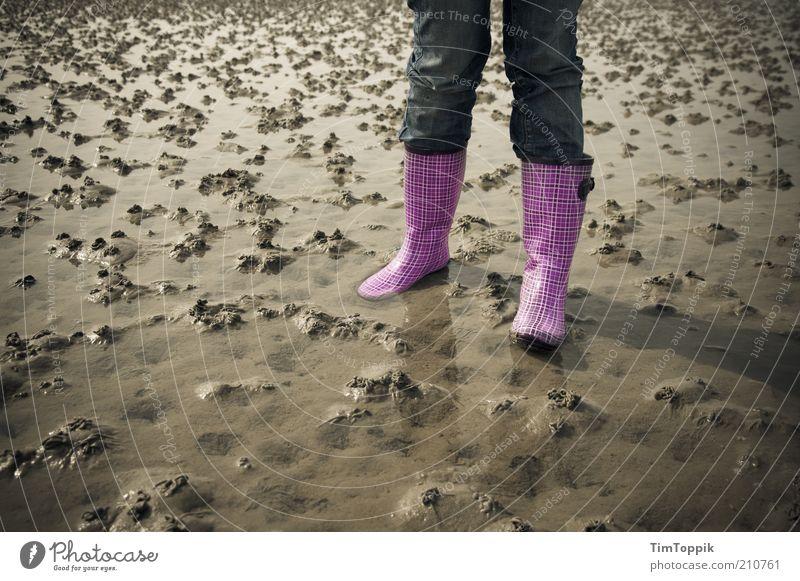 Yo, Watt now! 1 Human being Beach Pants Jeans Footwear Boots Rubber boots Pink Mud flats North Sea Wangerooge Coast Lugworms Walk along the tideland