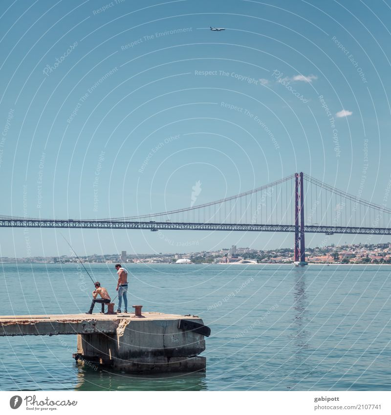 Angler at the Tejo Landscape Elements Water Sky Clouds Summer Beautiful weather River bank Lisbon Tejo Bridge Outskirts Harbour Life Fishing (Angle) Footbridge