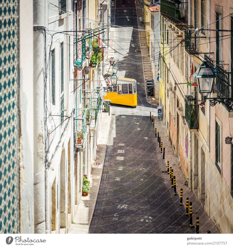 Lisbon Town Capital city Downtown Old town House (Residential Structure) Facade Traffic infrastructure Street Lanes & trails Road junction Vehicle Tram