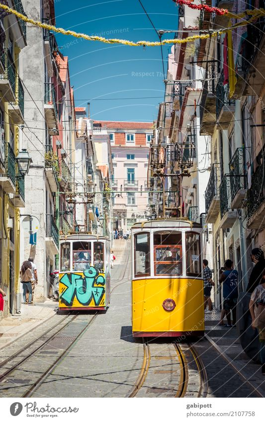 Lisbon - typical postcard motif Capital city Downtown Old town Pedestrian precinct House (Residential Structure) Tourist Attraction Transport Means of transport