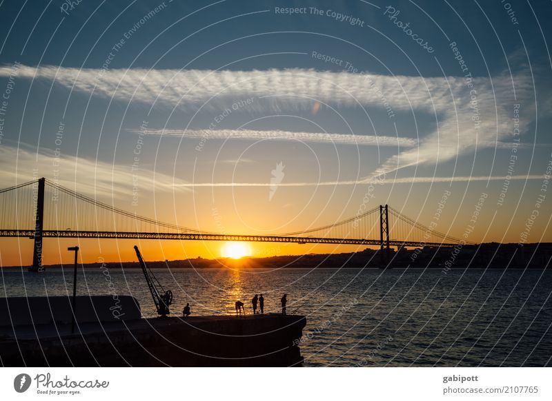 Group fishing :) Summer Summer vacation Beach Elements Sky Sunrise Sunset River Tejo Bridge Lisbon Portugal Manmade structures Tourist Attraction Energy