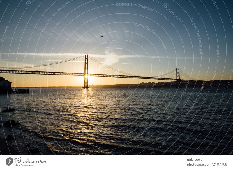 Bridge over the Tejo Landscape Sky Clouds Sunrise Sunset Summer Beautiful weather River bank Joie de vivre (Vitality) Relaxation Experience Colour Idyll Ease