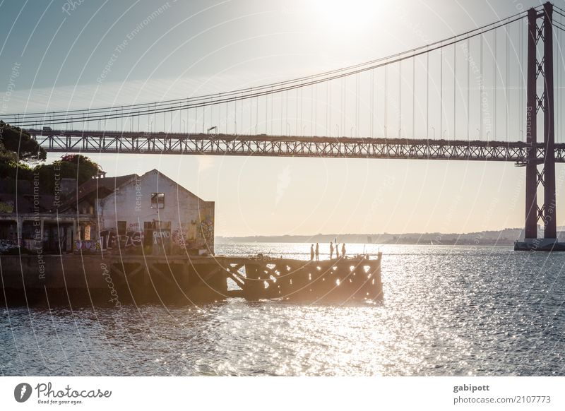 At the river Sky Summer River Tejo Bridge Lisbon Portugal Harbour Manmade structures Tourist Attraction Landmark Emotions Joy Happiness Contentment