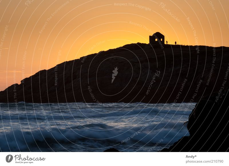 shadow play Vacation & Travel Tourism Ocean Waves Atlantic Ocean Brittany Morbihan Peninsula Nature Landscape Water Rock Yellow Gold Colour photo Copy Space top