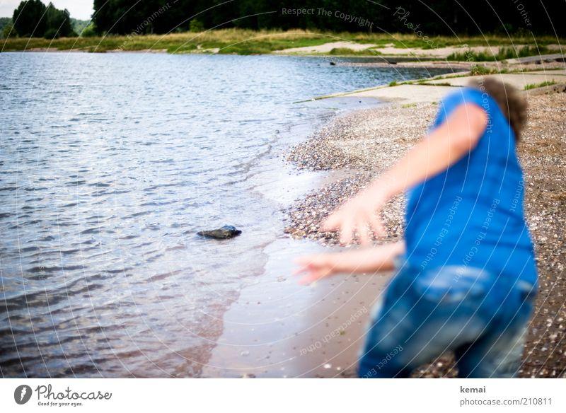 Human being Nature Water Blue Summer Beach Grass Stone Landscape Coast Waves Masculine Environment Back Bottom River