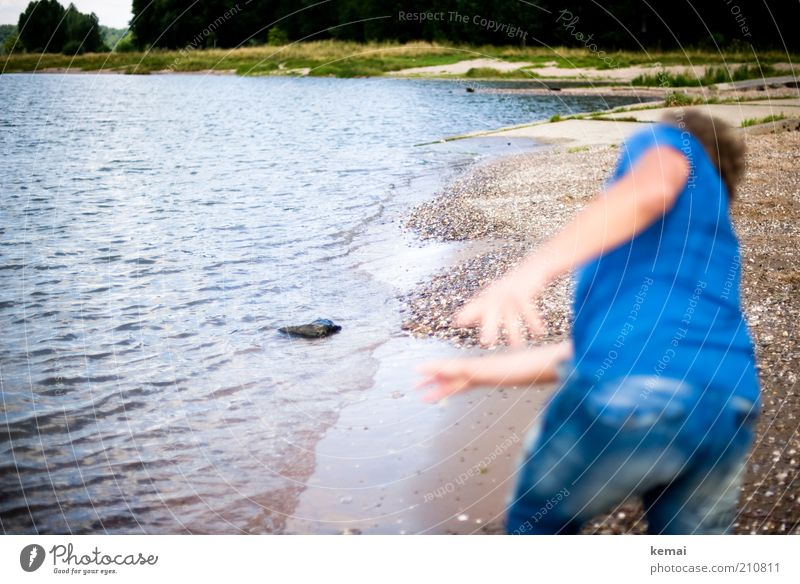 Human being Nature Water Blue Summer Beach Grass Stone Landscape Coast Waves Masculine Environment Back Bottom River