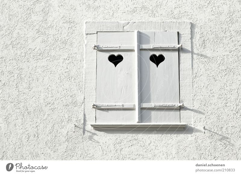 for fresh lovers Wall (barrier) Wall (building) Window Stone Wood Heart Bright White Love Monochrome Detail Shutter Window frame Facade Plaster Deserted