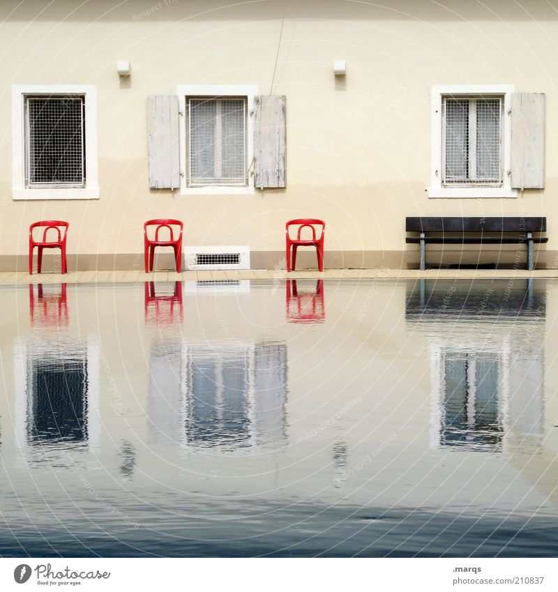 Water Calm House (Residential Structure) Wall (building) Window Wet Facade Swimming pool Bench Chair Exceptional Furniture Symmetry Climate change Grating Shutter