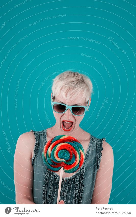#A# Colorflash Art Work of art Kitsch Trade Lollipop Woman Joy Comical Funster The fun-loving society Voracious Appetite Delicious Unhealthy Sunglasses
