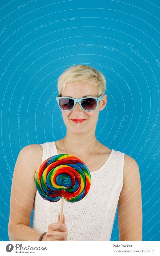 #A# Happy Art Esthetic Woman Lollipop Sweet Beautiful Candy Sweetener Candy stand Delicious Unhealthy Cool (slang) reward Sunglasses Blue Colour photo