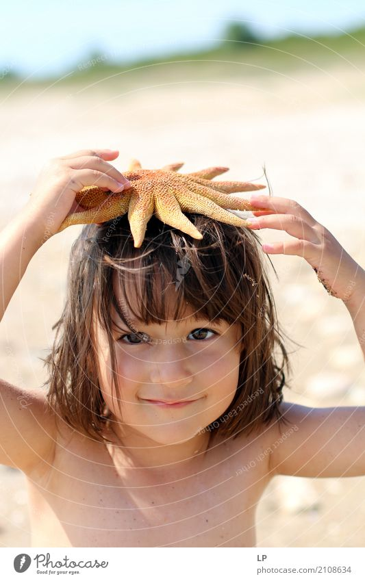 starfish on my head Human being Child Vacation & Travel Ocean Relaxation Calm Joy Beach Life Lifestyle Emotions Family & Relations School Moody
