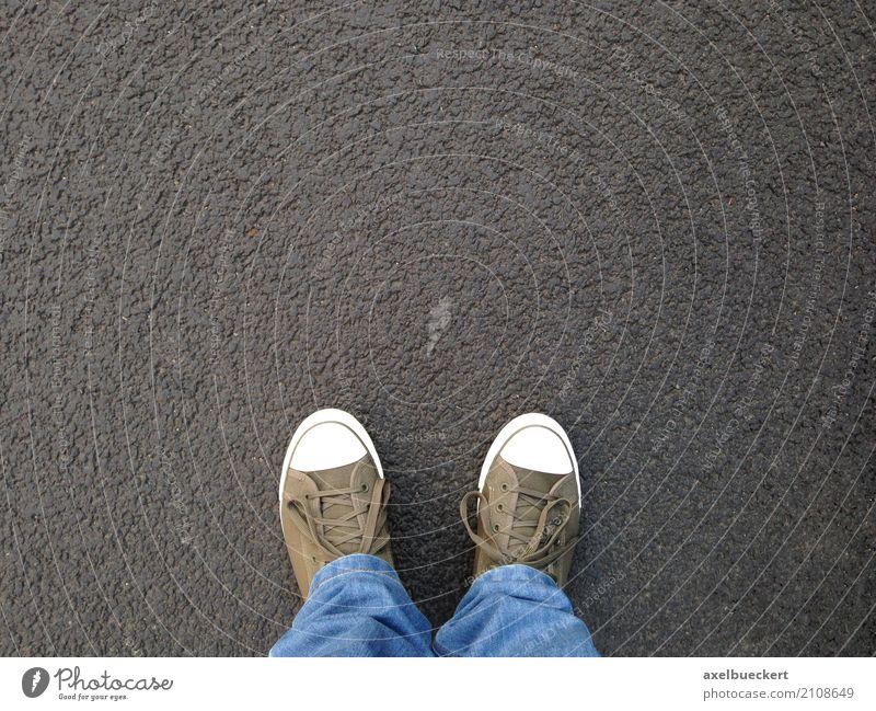 foot selfie Human being Man Adults Feet 1 Pedestrian Street Jeans Footwear Sneakers Stand Authentic Above Selfie Asphalt Denim Canvas Copy Space Ground