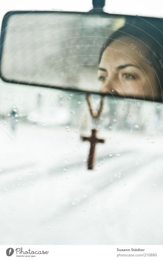 Woman Youth (Young adults) Street Feminine Car Rain Religion and faith Adults Wet Transport Driving Natural Christian cross Jewellery Traffic infrastructure
