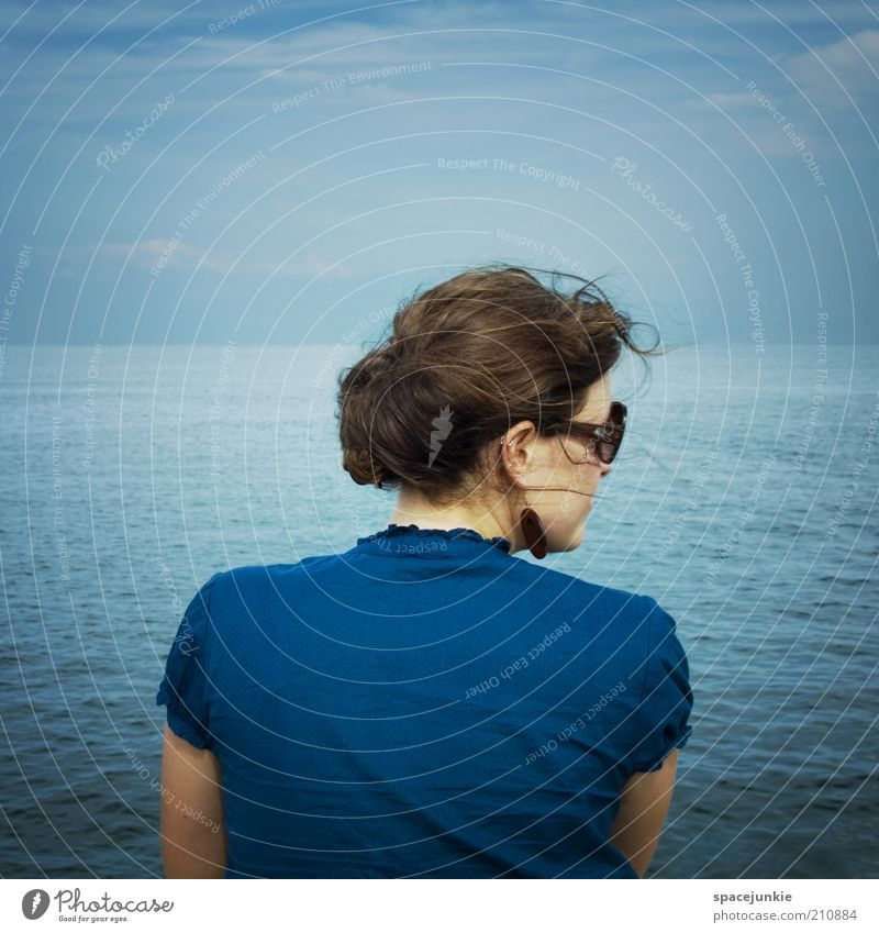 Woman Human being Water Sky Ocean Blue Loneliness Relaxation Lake Wind Back Horizon Hope Future Eyeglasses Longing