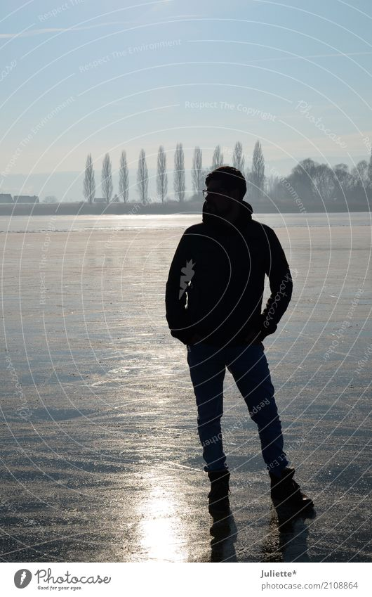 Men on ICE_3 Masculine Young man Youth (Young adults) Man Adults Partner Nature Landscape Water Sky Cloudless sky Winter Tree Island Reichenau Observe Think