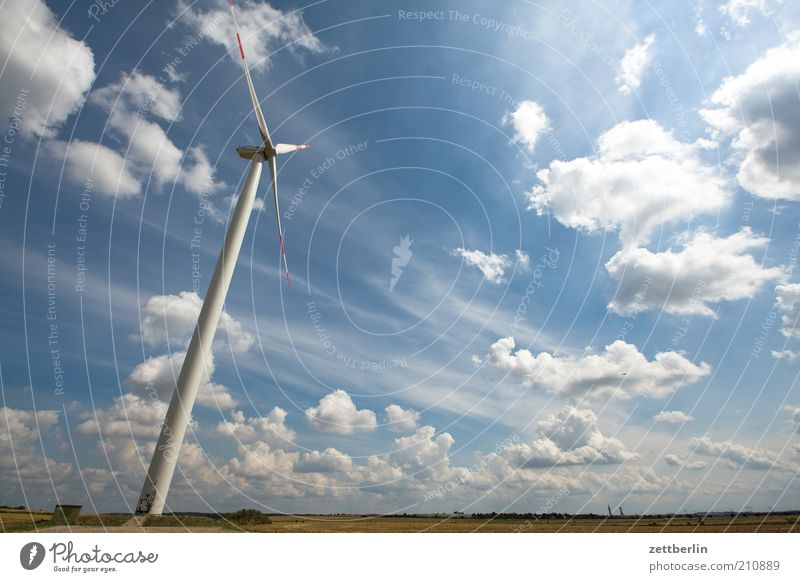 alternative Far-off places Summer Economy Energy industry Technology Advancement Future Wind energy plant Environment Nature Landscape Sky Clouds Field Power