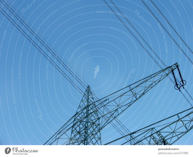 Sky Blue Industry Energy industry Electricity Logistics Cable Electricity pylon Transmission lines Production