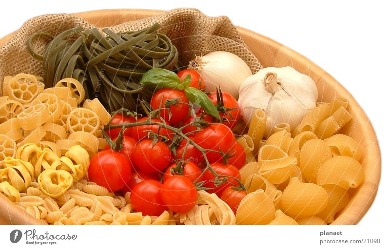 Pasta in bowl Noodles Tomato Garlic Bowl Nutrition Gastronomy Pastel tone Multicoloured Restaurant Appetite Isolated Image Italian Food Tuscany Kitchen