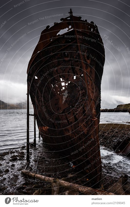In need of support Landscape Sky Clouds Spring Bad weather Mountain Coast Beach Fjord Navigation Steamer Old Dark Requiring support Lean Wreck Iceland Westfjord