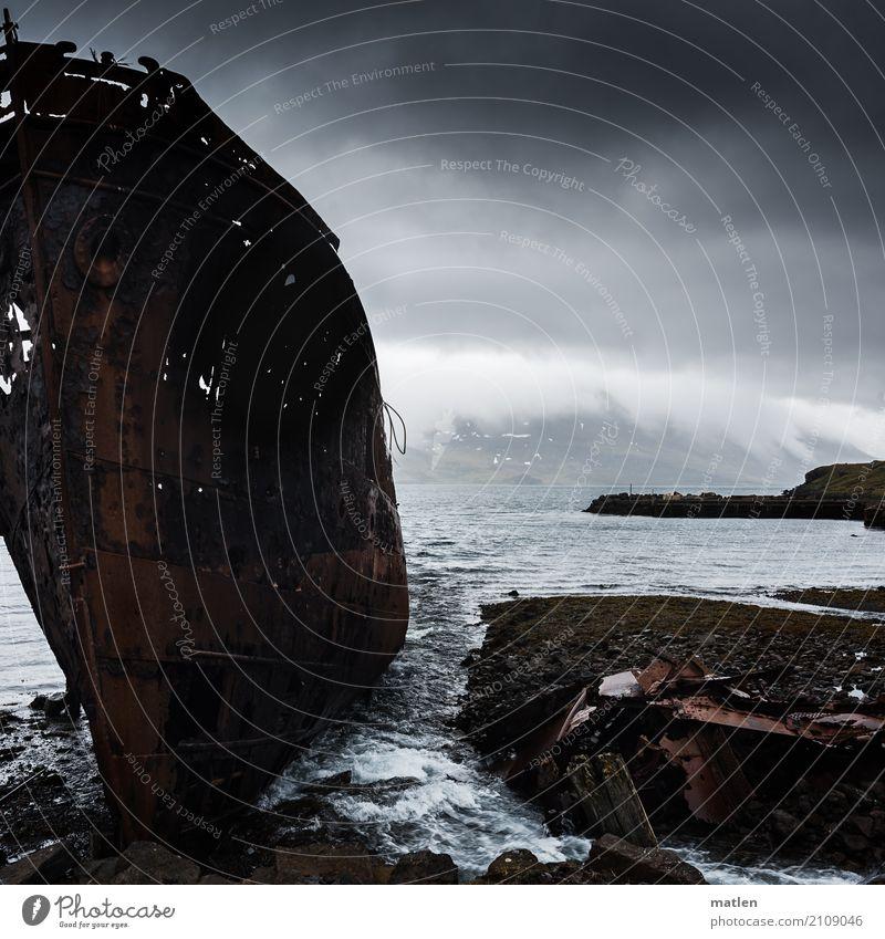 broken I Landscape Sky Clouds Spring Bad weather Mountain Coast Fjord Ocean Navigation Old Maritime Brown Gray Wreck Westfjord Iceland Stranded Rust
