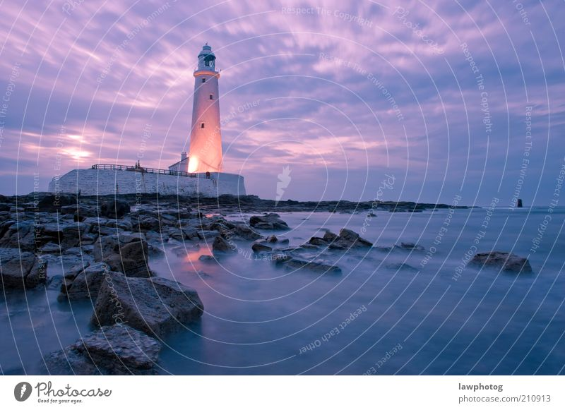 Rocky Shore St Mary's Lighthouse Nature Water Sky Sun Blue Red Beach Clouds Sand Landscape Waves Coast Horizon Earth Violet