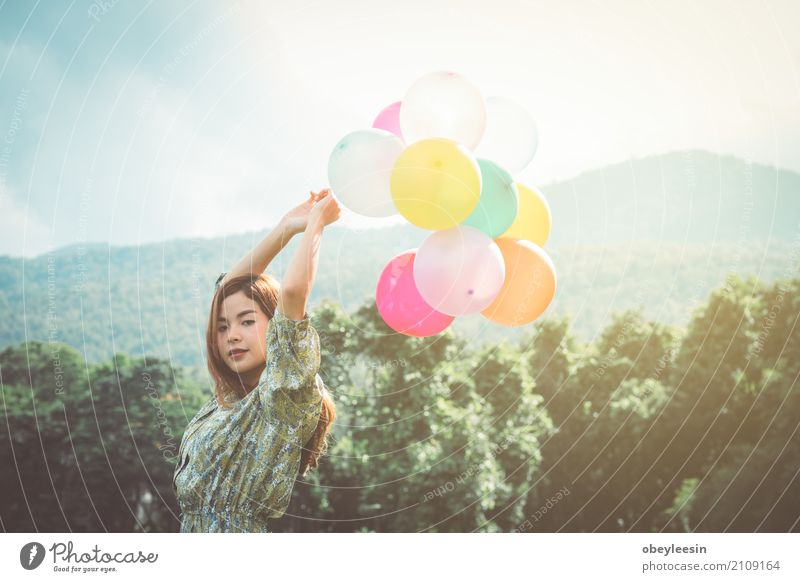 beautiful young asian girl have a happy Lifestyle Style Design Joy Human being Art Artist Work of art Adventure Colour photo Multicoloured Detail Day