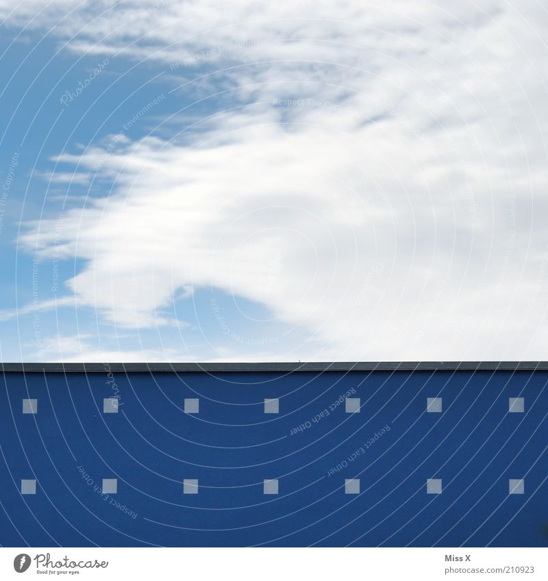spectacular actress Sky Clouds House (Residential Structure) Wall (barrier) Wall (building) Sharp-edged Blue Play of colours Paintwork Colour photo