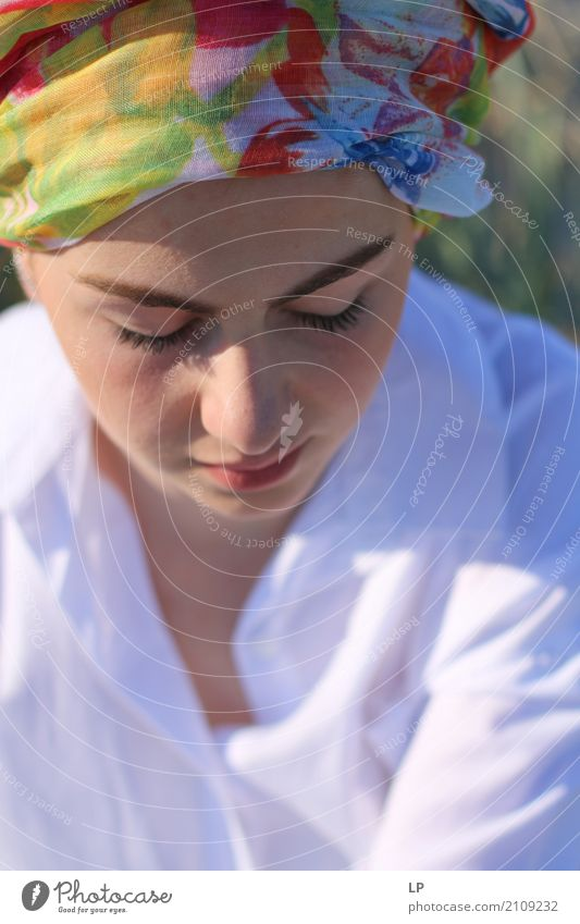 girl with turban looking down Lifestyle Elegant Style Hair and hairstyles Face Make-up Healthy Medical treatment Alternative medicine Intoxicant Wellness