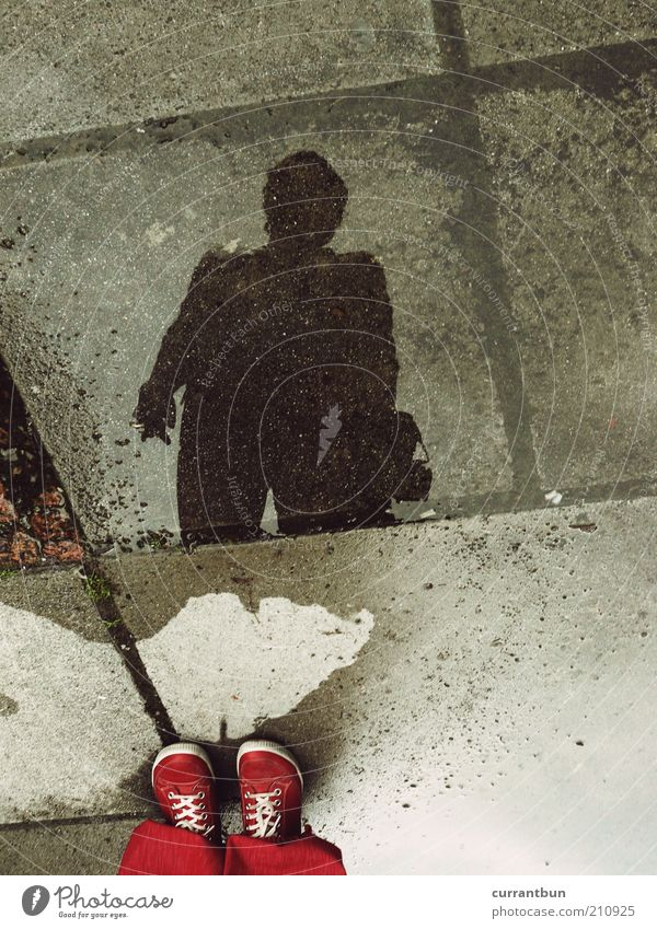 Water Red Black Footwear Line Wet Concrete Puddle Identity Paving tiles Experimental Abstract Shadowy existence Alter ego
