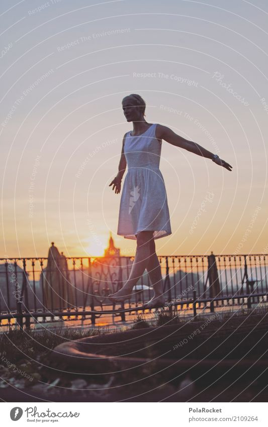 #A# Dresden morning Art Esthetic Dress Model Fashion Handrail Brühlsche Terrasse Sunrise Morning Dawn Balance Barefoot Youth (Young adults) Youth culture Ease