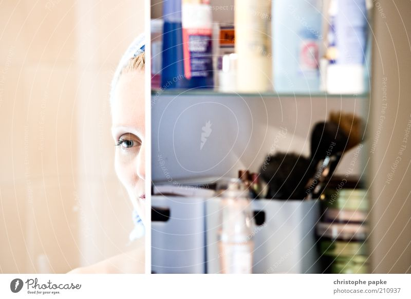 Mirror, mirror II... Beautiful Personal hygiene Cosmetics Mascara Bathroom Young woman Youth (Young adults) Face Eyes 18 - 30 years Adults Think Looking Dream