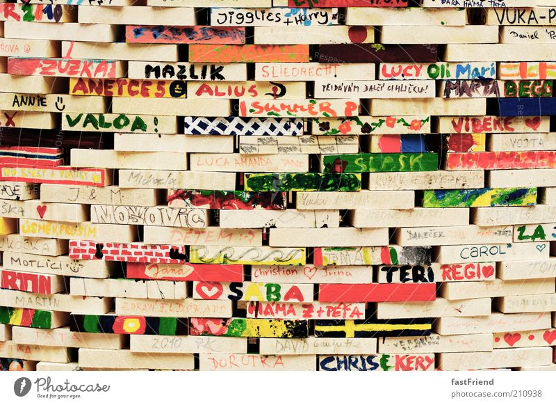 Beautiful Wall (building) Wood Dye Wall (barrier) Multicoloured Characters Leisure and hobbies Exceptional Sign Part Manmade structures Symbols and metaphors Creativity Typography