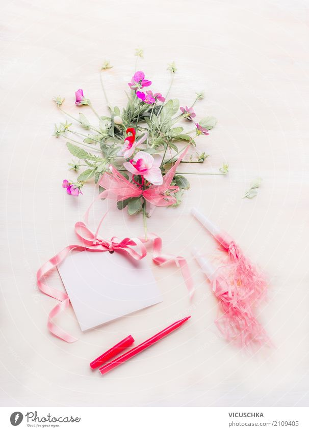 Small pink bouquet with card, bow and pencil Lifestyle Elegant Style Design Decoration Feasts & Celebrations Valentine's Day Mother's Day Wedding Birthday Plant