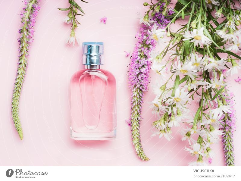 Perfume bottle with fresh herbs and flowers Lifestyle Shopping Style Design Beautiful Wellness Spa Nature Plant Flower Rose Fashion Accessory Bouquet Pink