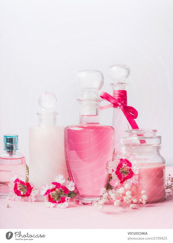 Beauty and skin care products Lifestyle Shopping Style Design Beautiful Personal hygiene Cosmetics Perfume Cream Healthy Flower Container Decoration Pink Gel
