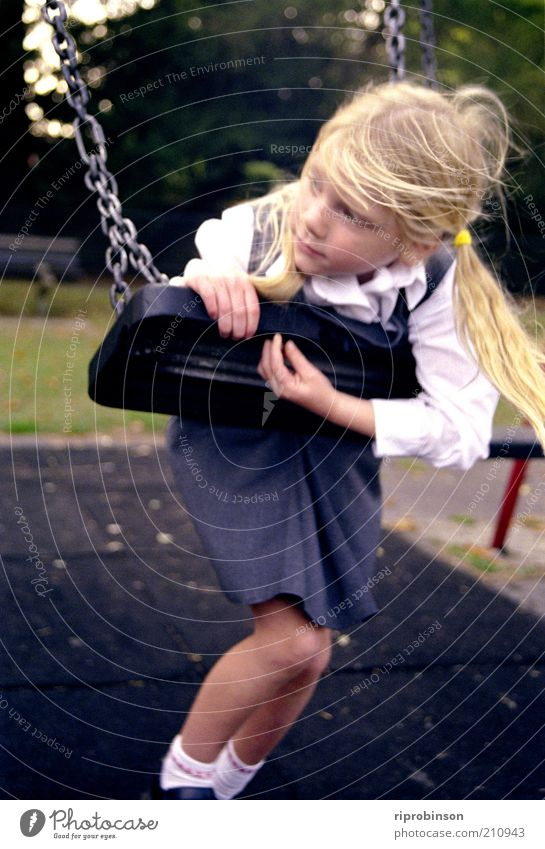 School Daze Human being Child Girl 1 3 - 8 years Infancy Playground Blonde Bangs Think To swing Loneliness Calm Dream Colour photo Subdued colour Exterior shot