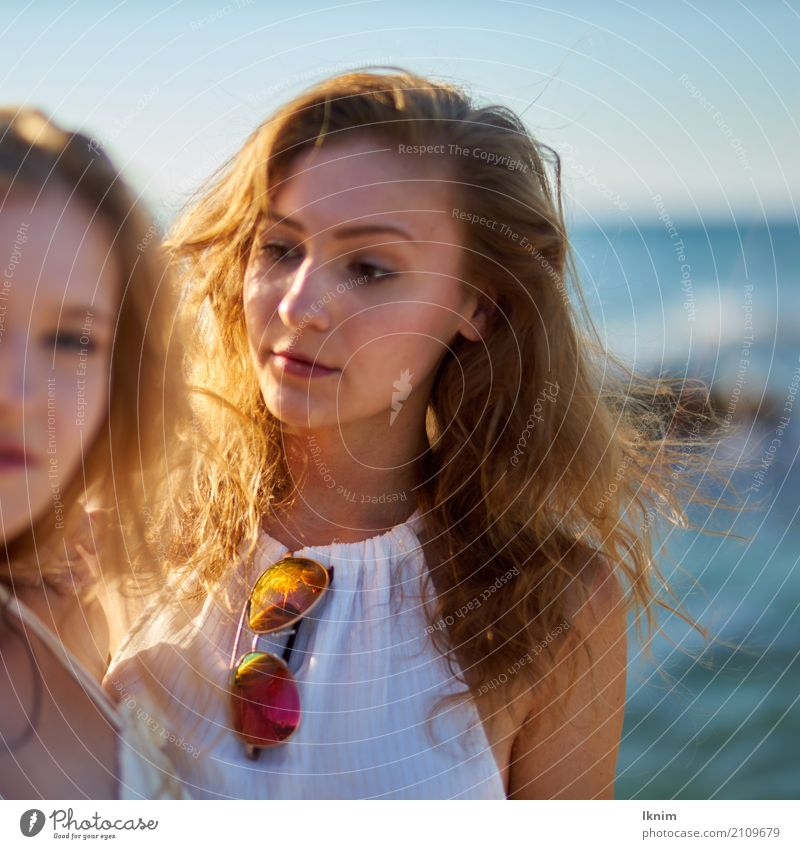 summergirl Beautiful Life Well-being Contentment Senses Calm Vacation & Travel Trip Summer Summer vacation Sun Ocean Young woman Youth (Young adults) Friendship
