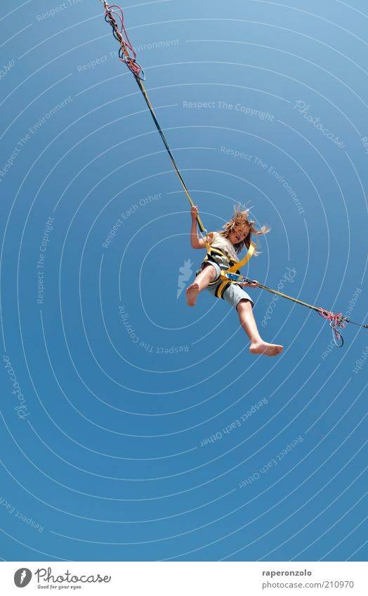 Human being Child Blue Summer Joy Sports Freedom Above Jump Air Infancy Contentment Tall Rope Safety Uniqueness